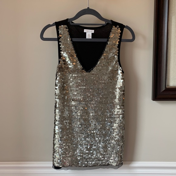 Cache Tops - Cache Champagne Sequins Sparkly Tank Top